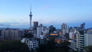 Auckland downtown skyline during sunset Stock Footage