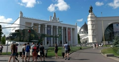 """The pavilion """"Space"""" and """"Transport"""" at ENEA, monument of Soviet constructivism Stock Footage"""