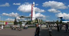 """A copy of the carrier rocket """"Vostok"""" at VDNKH Stock Footage"""