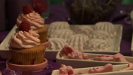 Wedding dessert table decorated in lilac tones Stock Footage