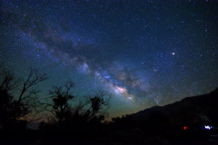 5K MoCo Pan Astro Time Lapse of Milky Way & Moon Rise over Sierra Nevada  Stock Footage