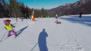 Winter mountains view, POV people  riding on pistes of alpine skiing resort. Stock Footage