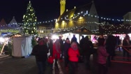 Tallin, Christmas/New year time fair Town hall square illuminated pov steadicam. Stock Footage