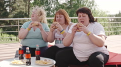Unhealthy Meal, Fatty Women Eating Burgers Stock Footage