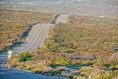South Australia Desert endless road in kangaroo island panorama wild landscap Stock Photos