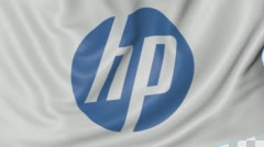 Close up of waving flag with HP Inc. logo, seamless loop, blue background Stock Footage