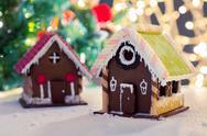 Closeup of beautiful gingerbread house at home Stock Photos