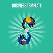 Business template. Top view partners handshaking Stock Illustration
