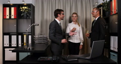 Successful Businesspeople Drink Sparkling Wine Partnership Success Office Indoor Stock Footage