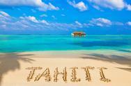 Word Tahiti on beach Stock Photos