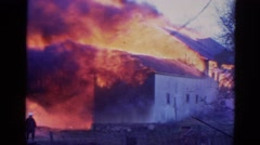 1968: massive fire of a house, vintage clip Stock Footage