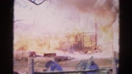 1968: a house engulfed in red hot flames and dark smoke as it burns WAUCONDA, Stock Footage