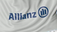 Close up of waving flag with Allianz logo, seamless loop, blue background Stock Footage