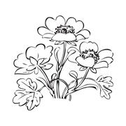 Floral bush retro black on white background vector, hand drawn flower Stock Illustration