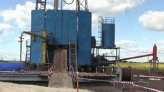Drilling Rig On Drilling Site. Shale Gas Drilling Stock Footage