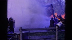 1968: putting out a house fire WAUCONDA, ILLINOIS Stock Footage