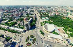 Aerial city view. Urban landscape. Copter shot. Panoramic image Kuvituskuvat