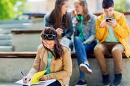 Student girl suffering of classmates mockery Stock Photos