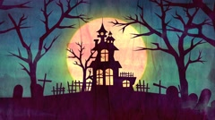 Halloween House On the hill with moon Ghosts mystery mansion Stock Footage