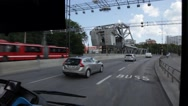 Riding on a bus through Stockholm over a drawbridge Stock Footage