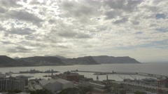 4k Naval Dock Ships Yachts Mountains Clouds Ocean Time Lapse Stock Footage