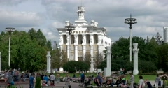 "The pavilion ""Armenia"" at ENEA, Soviet constructivism,  crowded area Stock Footage"
