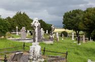 Old celtic cemetery graveyard in ireland Stock Photos