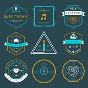 Vector Badges Rock, Rap, Classical and Disco Music Stock Illustration