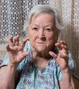 Portrait of angry old woman Stock Photos