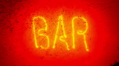Blinking neon bar sign. Stock Footage