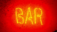 Blinking neon bar sign. Stock Footage