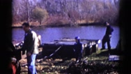 1962: a picnic in a forest area is seen CHICAGOLAND AREA Stock Footage