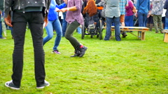 4K Young Crowd at Music Festival Dancing Outdoors, Friends Group Happiness Stock Footage