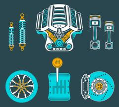 Vector set of spare parts for car Stock Illustration