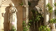 Statue of woman with cup in Soller, Mallorca Stock Footage