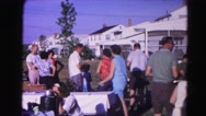 1962: people are taking part in a party arranged outdoor. HAGERSTOWN, MARYLAND Stock Footage