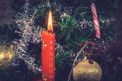 Christmas candle counting down for Xmas Stock Photos