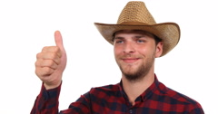 Optimistic Gardener Farmer Man Looking Camera and Showing Thumb Up Hand Gesture Stock Footage