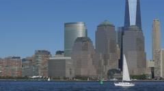 Cruise ship Norwegian breakaway cruising in Hudson River with Manhattan downtown Stock Footage