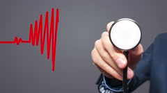 Closeup of hand with Stethoscope checking heart beat in heart shape. Health,  Stock Footage