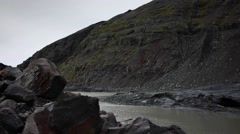 View of Svinafellsjokull Glacier with Boulders in the Foreground  Stock Footage