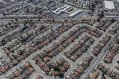 Aerial of Middle Class Homes in San Leandro near Oakland California Kuvituskuvat