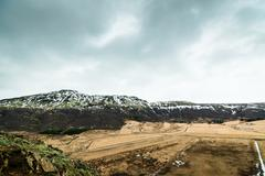 Iceland landscape in cloudy weather Stock Photos