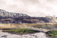 Iceland scenery with geothermal activity Stock Photos