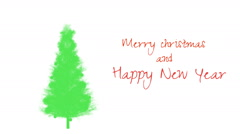 Silhouette of a Christmas tree with the congratulatory text Stock Footage