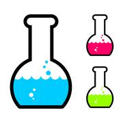 Laboratory flask with acid. Tube for research. Scientific glassware for exper Stock Illustration