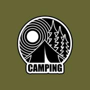 Camping logo. Emblem for accommodation camp. Landscape with tent and forest Stock Illustration