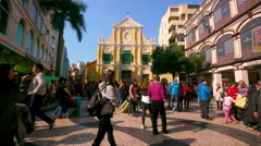 CROWD TOURISTS ST. R DE SAO PAULO MACAU CHINA Stock Footage