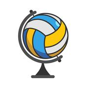 Globe volleyball. World game. Sports accessory as earth sphere. Scope of game Stock Illustration