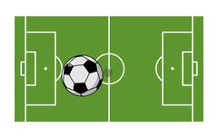 Football field and ball. Soccer game. Game ball high above ground. Green gras Piirros